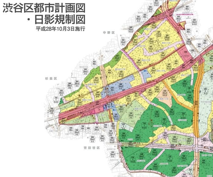 渋谷区の都市計画図・日射規制図