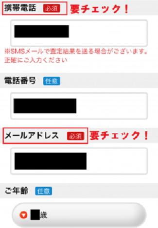スマイスターで携帯電話の番号やメールアドレスを入力する画面