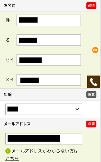すまいスター一括査定でオーナーの個人情報を入力する画面