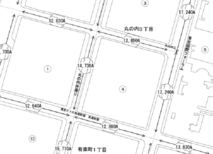 東京都千代田区丸の内周辺の路線価図