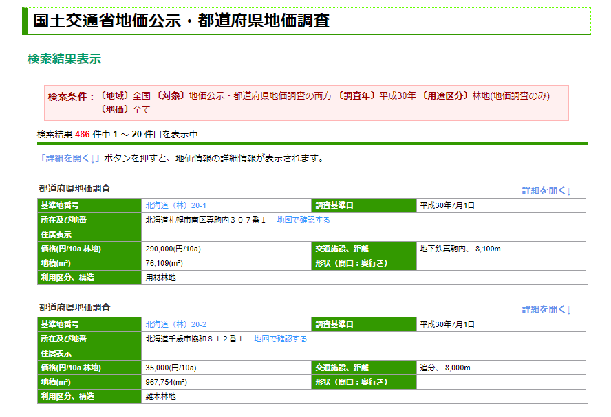 国土交通省地価公示検索結果画面