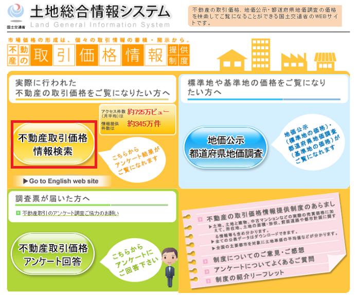 土地総合情報システムで不動産取引価格情報検索を選択