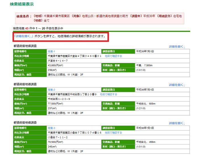 千葉県検索結果表示