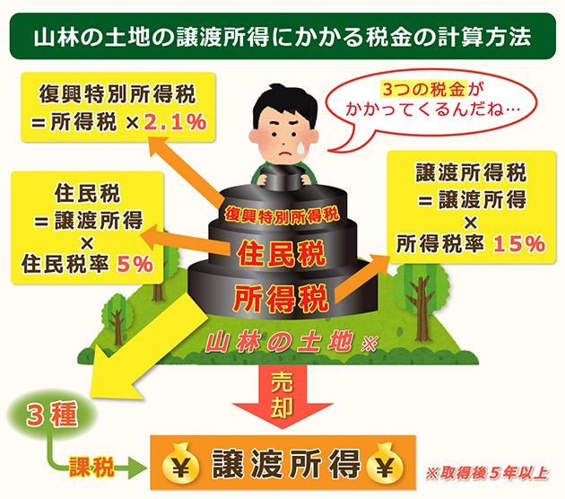 山林の土地の譲渡所得にかかる税金の計算方法
