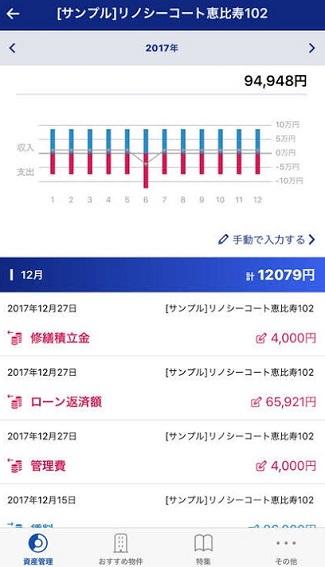 リノシ―アプリの収支確認画面