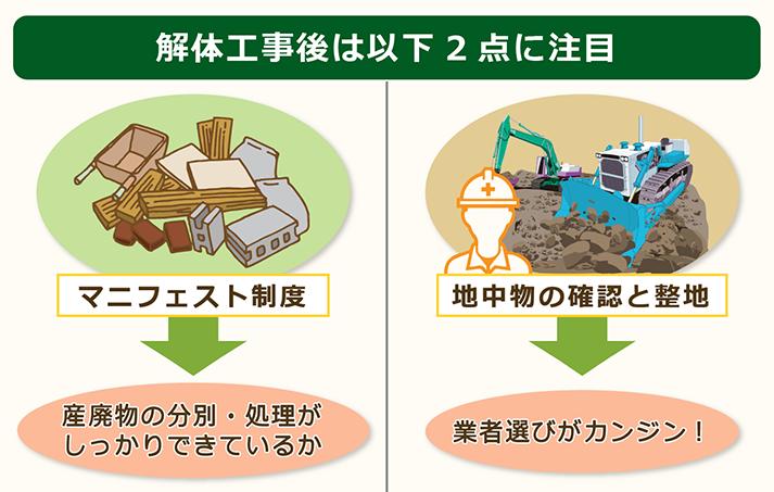 解体工事後は業者が以下2つのポイントを抑えているかチェックする。