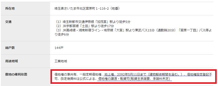 地上権の準共有についてSUUMOの物件概要