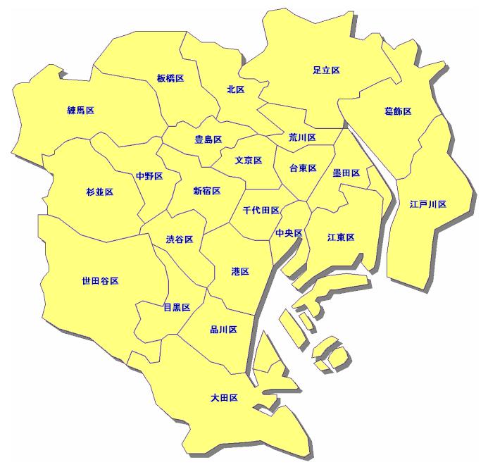 東京都23区の地図