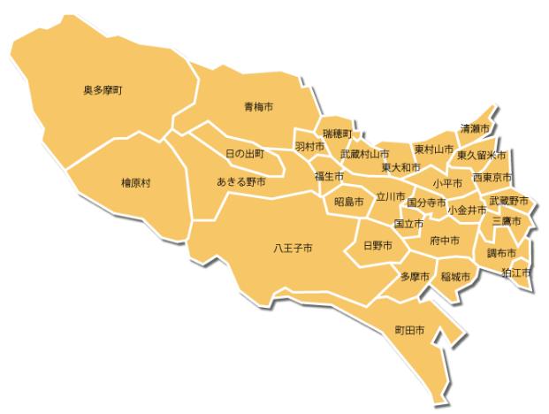 東京都多摩地域の地図